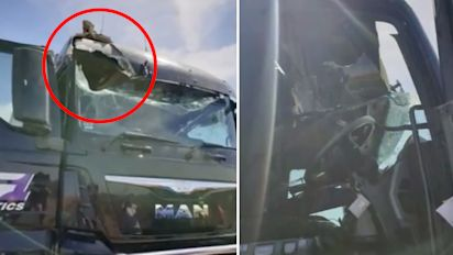 Truckie escapes death after freak accident