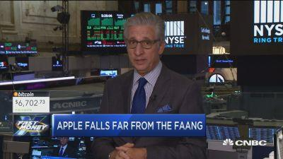 Apple has been lagging as other mega-cap tech stocks trad...