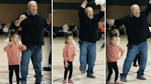 Grandad performs chicken dance to help nervous girl in school competition