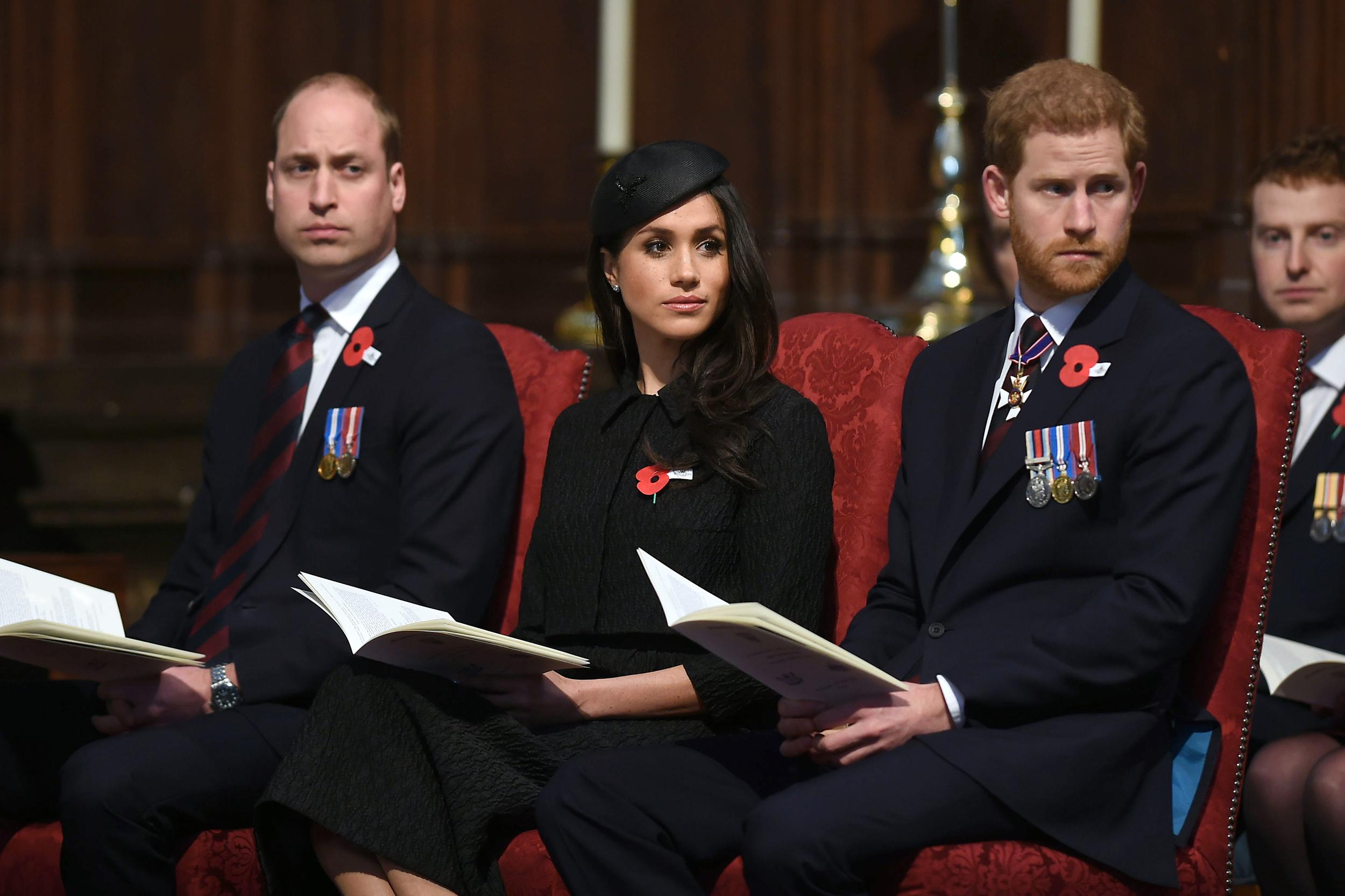 Prince William (left), Meghan Markle and Prince Harry during the annual Service of Commemoration and Thanksgiving at Westminster Abbey, London, to commemorate Anzac Day.