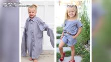Utah woman makes dresses for her daughters out of husband's old shirts