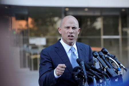 FILE PHOTO: Michael Avenatti, lawyer for adult film actress Stephanie Clifford, also known as Stormy Daniels, speaks to the media outside the U.S. District Court for the Central District of California in Los Angeles, California, U.S. September 24, 2018. REUTERS/Andrew Cullen/File Photo