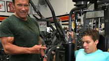 Arnold Schwarzenegger bonds with son Joseph Baena at the gym on his birthday
