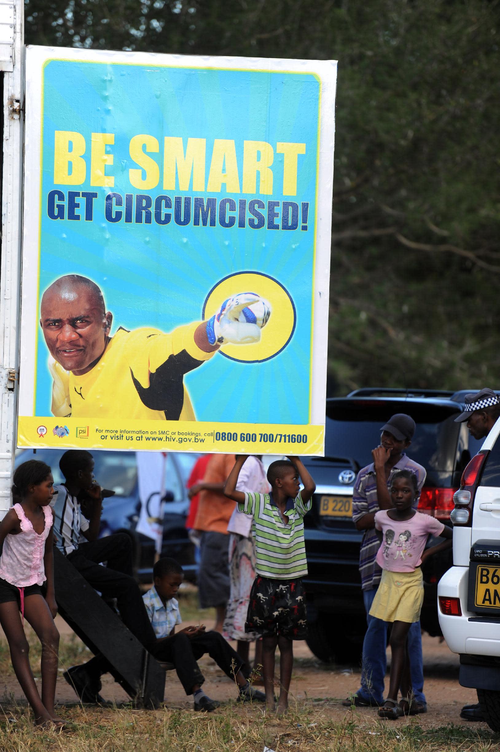 File photo taken in Gaborone, Botsana of an advert campaigning for male circumcision in sub-Saharan Africa (AFP Photo/Monirul Bhuiyan)