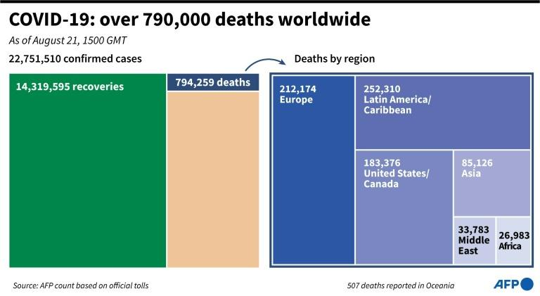 COVID-19: over 790,00 deaths worldwide