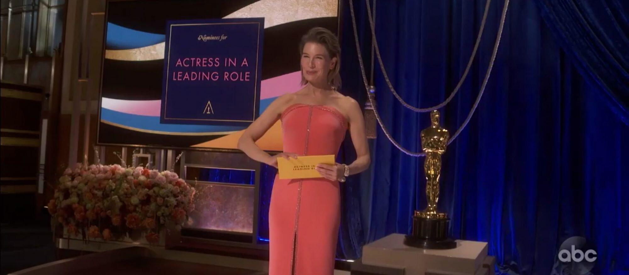 Renée Zellweger Returns to the 2021 Oscars Stage in an Elegant Peony Pink  Gown