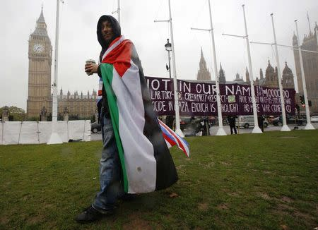 A pro-Palestine supporter wears a Palestinian and Union flag outside the Houses of Parliament in London October 13, 2014. REUTERS/Luke MacGregor