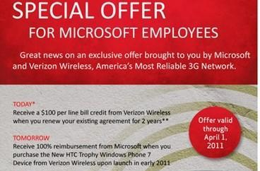 Verizon renews HTC Trophy offer for Microsoft employees