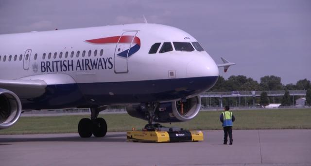 British Airways pushes planes with remote-controlled vehicles