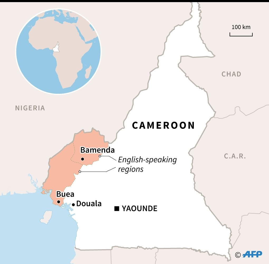 Map of Cameroon locating English-speaking regions and their capitals, Bamenda and Buea. (AFP Photo/Valentina BRESCHI)