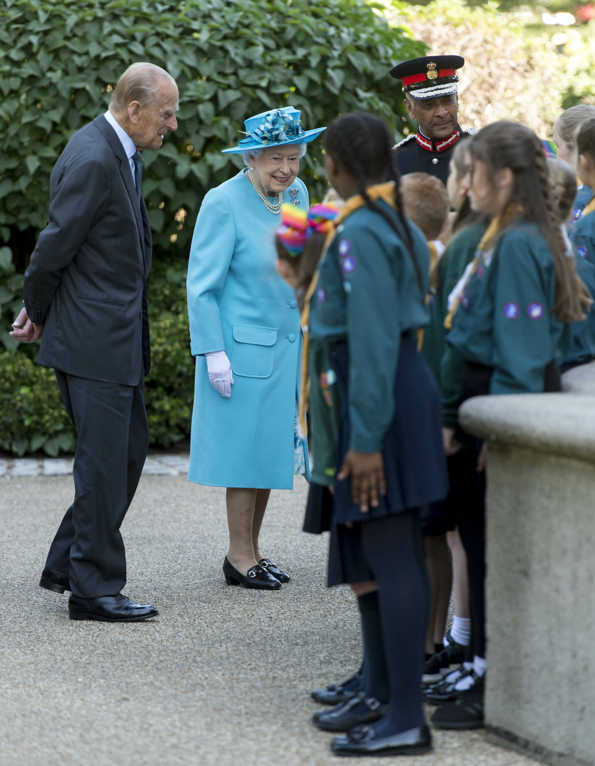 Photo by: KGC-178/STAR MAX/IPx 2017 6/15/17 Queen Elizabeth II and Prince Philip, Duke of Edinburgh attend a Memorial Service at All Saints Church during an official visit to Tower Hamlets in London, England.
