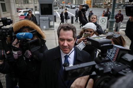 """Attorney for Joaquin Guzman, the Mexican drug lord known as """"El Chapo"""", Jeffrey Lichtman arrives at the Brooklyn Federal Courthouse, during the trial of Guzman in the Brooklyn borough of New York, U.S., February 5, 2019. REUTERS/Brendan McDermid"""