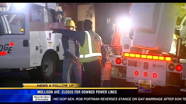 Mollison Avenue closed for downed power lines