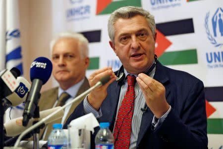 U.N. High Commissioner for Refugees Grandi speaks during a news conference in Amman