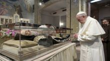 Pope pays tribute to mystic monk said to have wrestled with the Devil