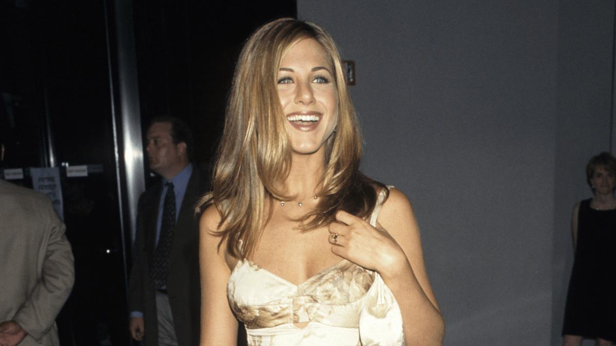 Jennifer Aniston's Peak '90s Floral-Print Satin Dress