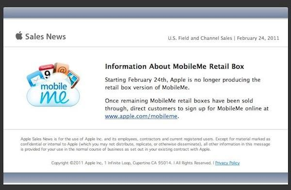 Apple removes MobileMe from online store, discontinues retail boxes