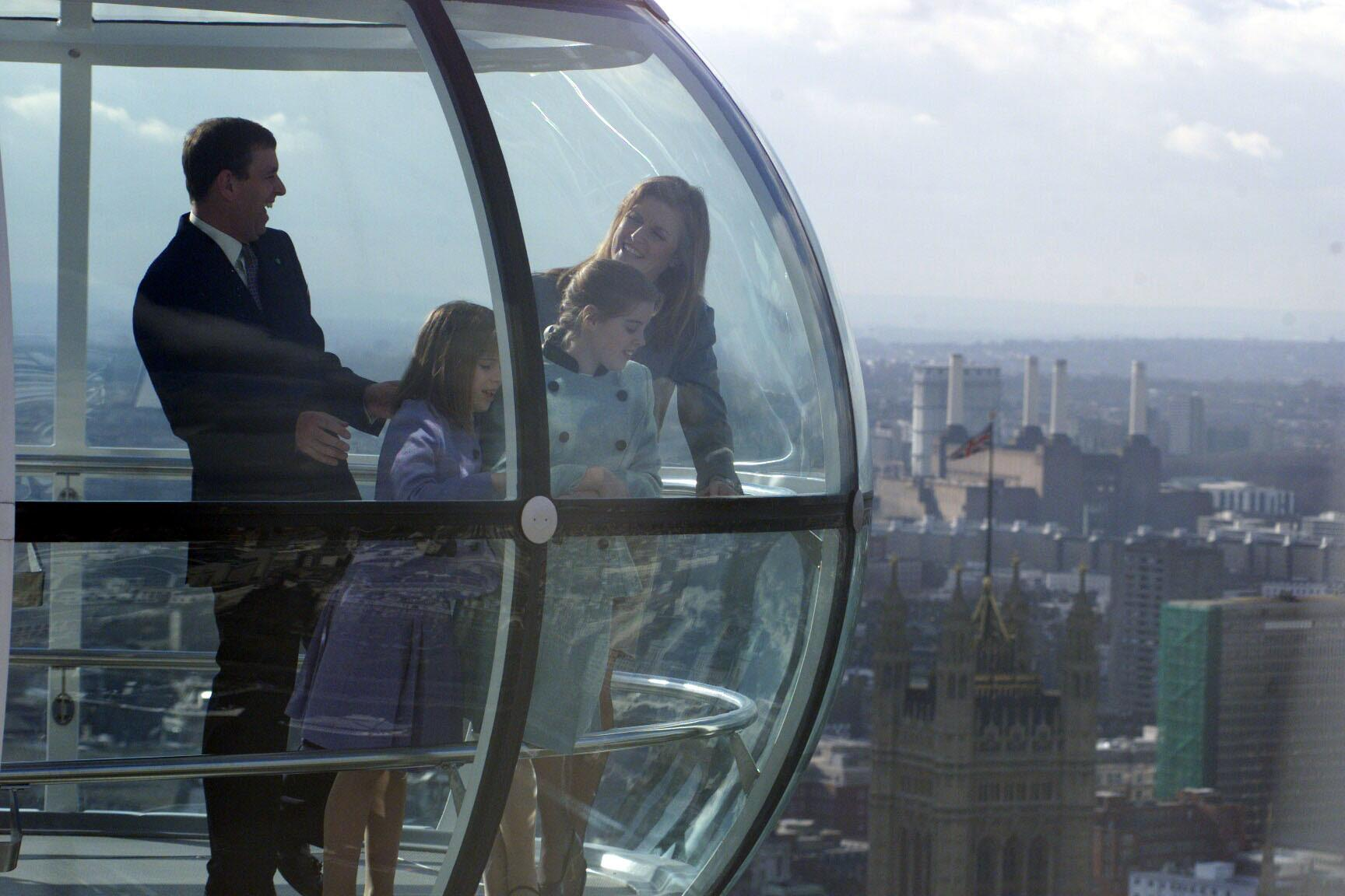 The Duke of York celebrating his 40th birthday high above London in one of the gondolas of the Millennium Wheel with his ex-wife Sarah, Duchess of York, with whom he is still very close, and their daughters Princesses Beatrice and Eugenie.   *The busy birthday is indicative of the Duke, who has said he is convinced that life really does begin at 40.