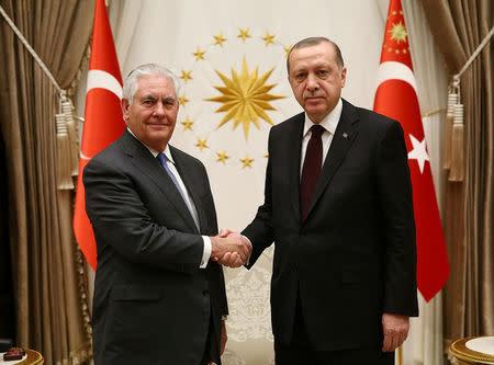 Turkish President Tayyip Erdogan meets U.S. Secretary of State Rex Tillerson in Ankara