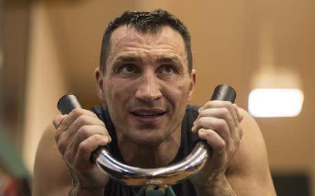 Ukrainian heavy weight boxing World Champion Wladimir Klitschko attends a public training session in Going