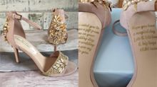 Bride-to-be discovers secret message from her dying mum on wedding shoes