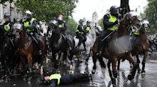 Police criticised for 'worrying' use of horses to control Black Lives Matter protesters after animal bolts