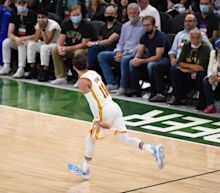 Giannis Antetokounmpo was not pleased with Trae Young's pre-shot shimmy