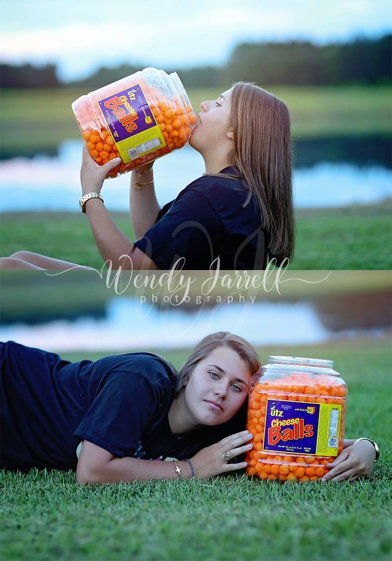 Anna Priester brought on the cheese balls for her senior portrait.