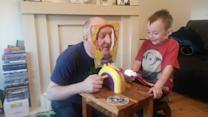 Young Kid and Grandpa Play Pie-in-the-Face Game