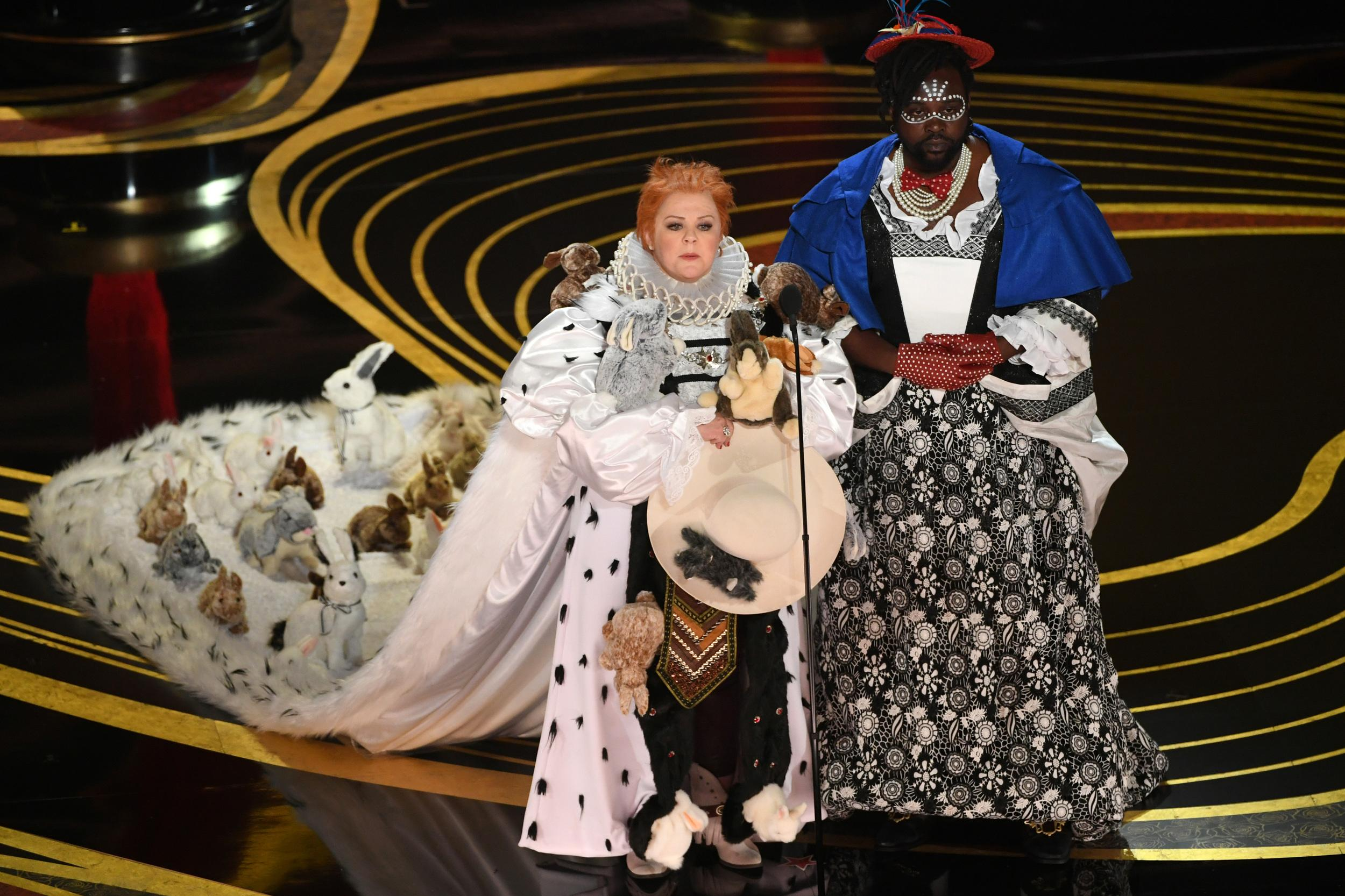 HOLLYWOOD, CALIFORNIA - FEBRUARY 24: (L-R) Melissa McCarthy and Brian Tyree Henry speak onstage during the 91st Annual Academy Awards at Dolby Theatre on February 24, 2019 in Hollywood, California. (Photo by Kevin Winter/Getty Images)
