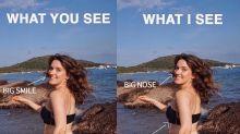 Modelo faz post mostrando como os outros vêem seu corpo versus como ela mesma vê