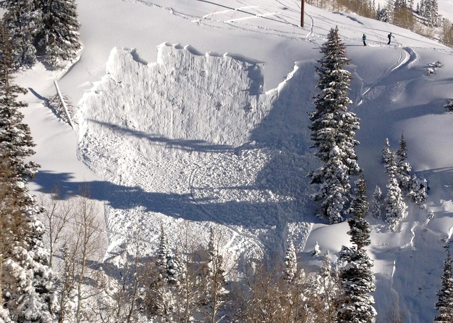 In this photo provided by Joseph Campanelli, the second in a sequence of three images, a skier is buried in an avalanche she triggered in a steep ravine in Grizzly Gulch, just outside the Alta ski area east of Salt Lake City, Monday, Dec. 9, 2013. The woman survived because she deployed a special air bag and other skiers were able to quickly dig her out. It was the first time this season that a person has been caught in an avalanche in the state. Authorities say say she could've been trapped longer under much deeper snow without the air bag. (AP Photo/Joseph Campanelli)