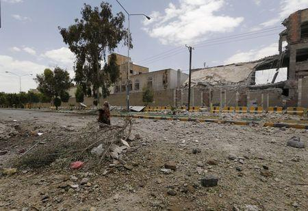 Damage is seen at the Yemeni army's main headquarters after it was hit by a Saudi-led air strike in Sanaa