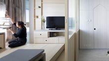在這極具日式禪調的450呎元朗家居裡,住著兩代人和心愛寵物