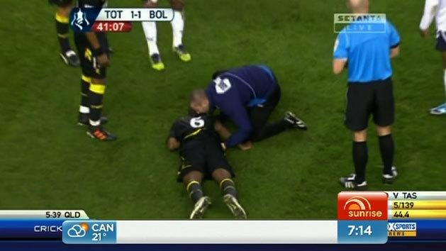 Bolton midfielder collapses during game
