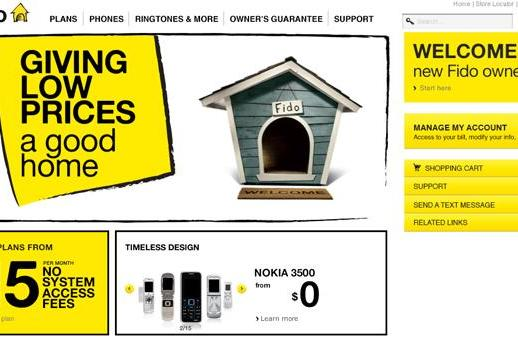 Fido's rebrand complete, yellow figures prominently