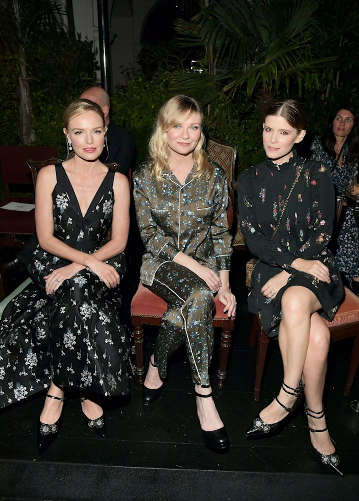 From left, Kate Bosworth, Kirsten Dunst, and Kate Mara all in the new Erdem x H&M collection. (Photo: Getty)