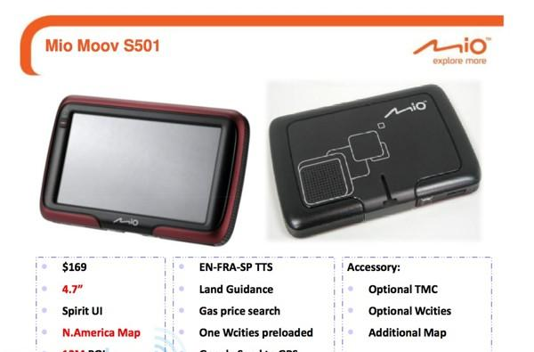 Mio S401 and S501 nav units leak out, due in May
