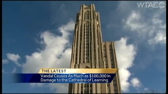 Pitt student suspected of costly spray paint vandalism at Cathedral of Learning