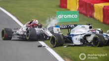 "Russell thankful for halo after ""scary"" Giovinazzi crash"