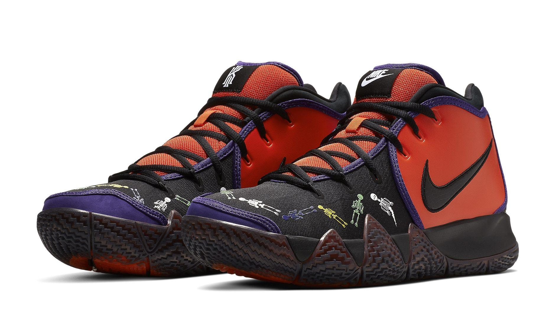 180357539c1 New Nike Kyrie 4 Sneakers Reference Day of the Dead With Cute Skeletons