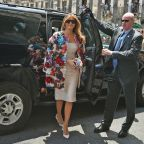 Melania Trump looks like she stepped out of a magazine in this $51,500 Dolce & Gabbana coat in Sicily