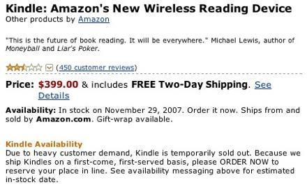 Kindle sells out in 5.5 hours