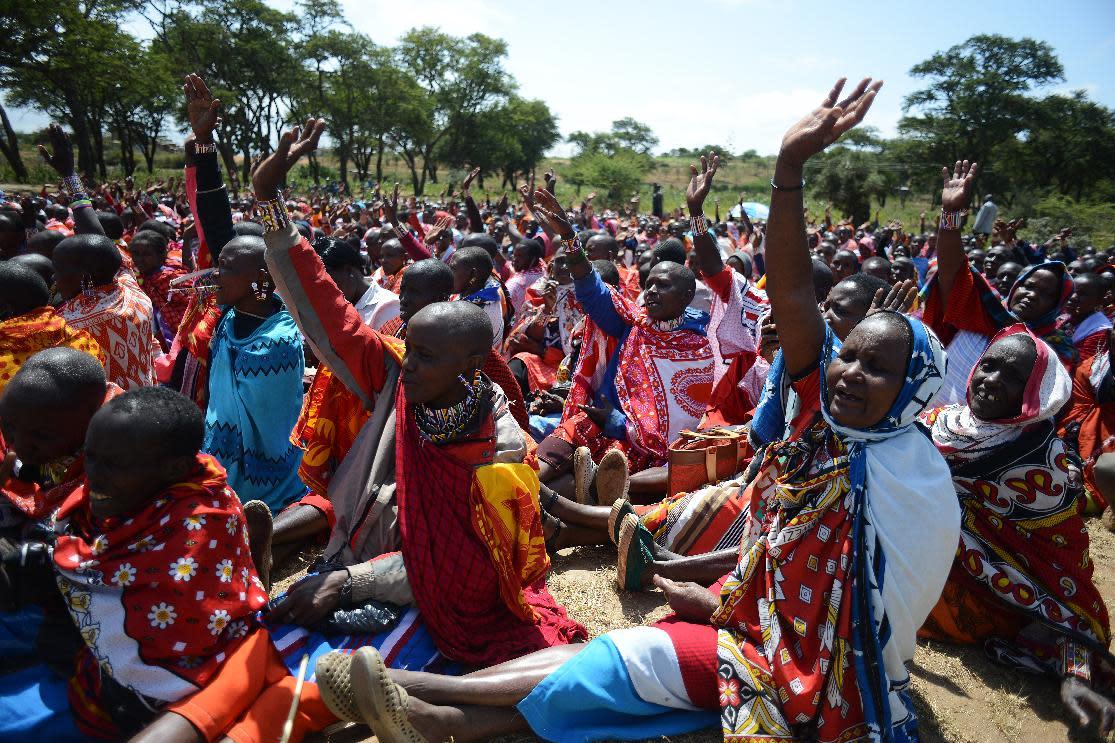Kenyan Maasai women gather for a meeting dedicated to the practice of female genital mutilation
