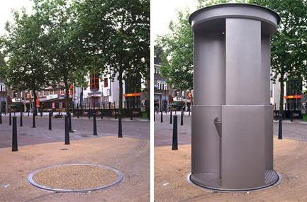 Urilift: the disappearing public urinal (and we do mean public)