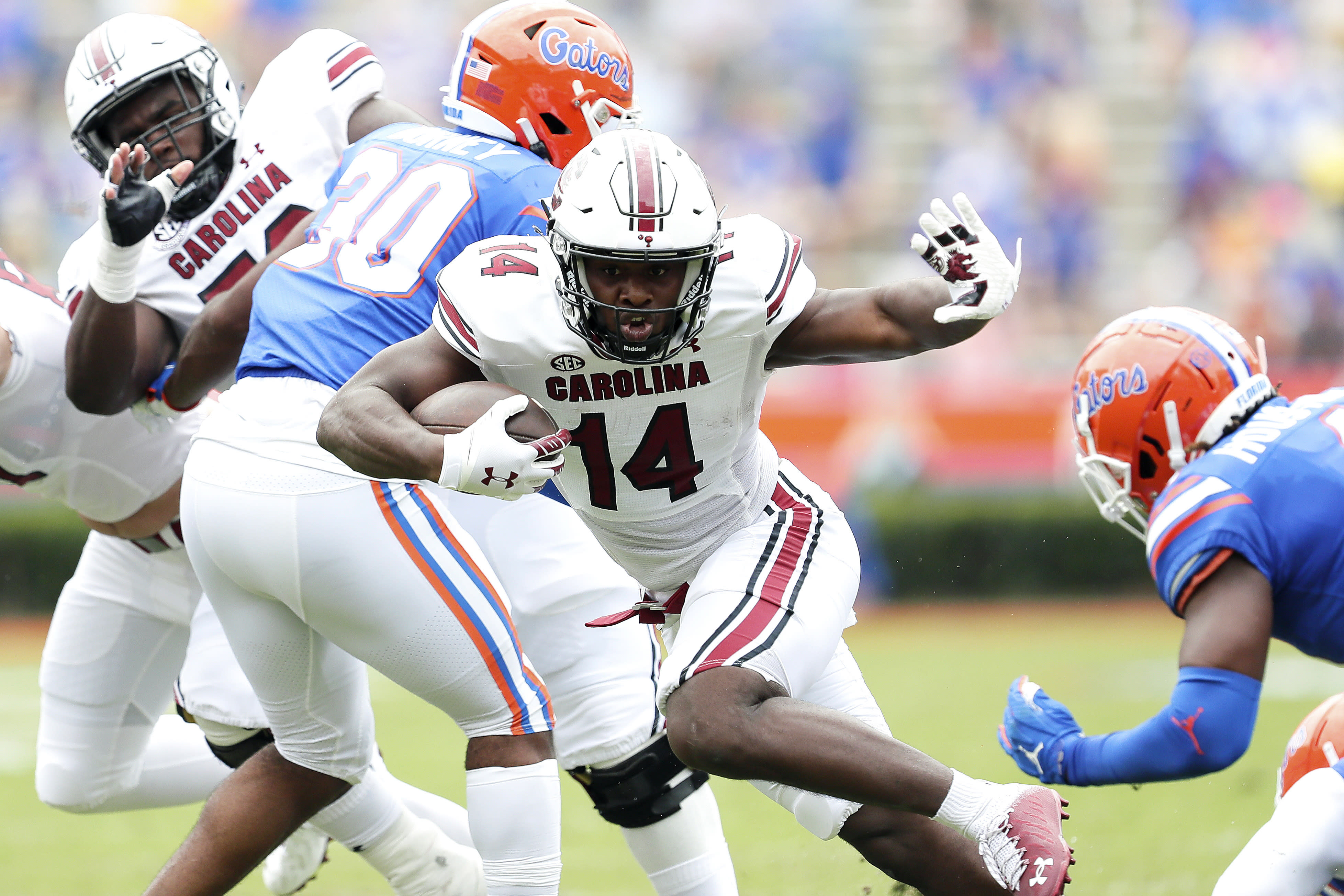 South Carolina receiver running back Deshaun Fenwick (14) runs the ball during against Florida during an NCAA college football game in Gainesville, Fla., Saturday, Oct. 3, 2020. (Brad McClenny/The Gainesville Sun via AP, Pool)
