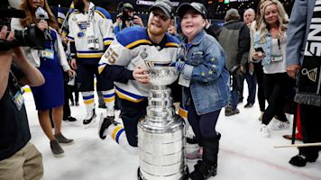 Blues fan at game after marrow transplant