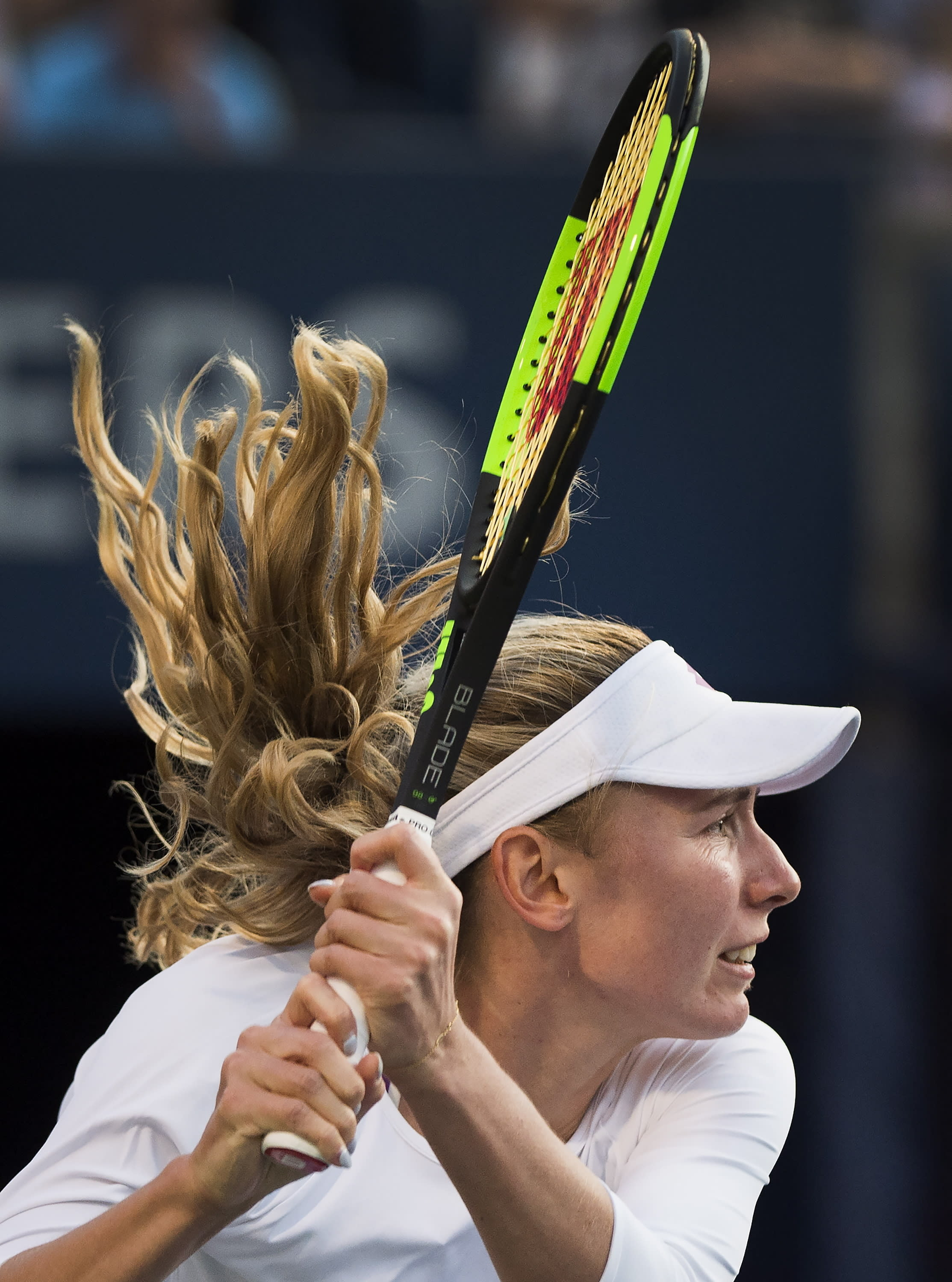 Ekaterina Alexandrova, of Russia, watches a return to Serena Williams, of the United States, during the Rogers Cup women's tennis tournament Thursday, Aug. 8, 2019, in Toronto. (Nathan Denette/The Canadian Press via AP)