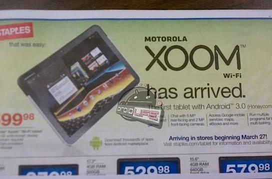 WiFi-only Xoom headed to Staples for March 27th release?