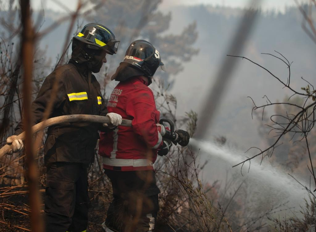 Firemen fight the forest fire in the Loma Negra sector, on the upper part of Valparaiso, Chile, on March 14, 2015 (AFP Photo/Vladimir Rodas)